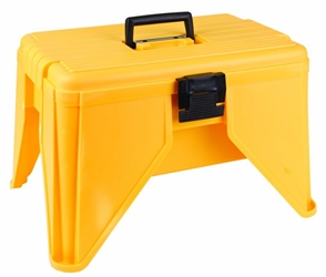 Stand N Store Stool StandN,Store,Stool,tool box,step stool, plastic step stool, plastic storage, stool with handle, storage with handle, yellow stool, safety yellow stools