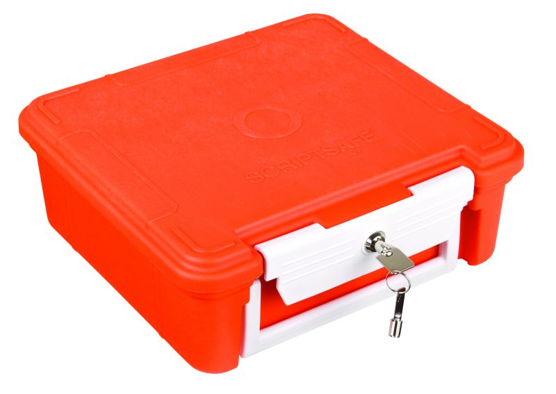 ScriptSafe Open Core w/out Lockdown Feature scriptsafe, medical, open core, key latch, prescription drugs, patent pending, key latch, drug abuse, handle, plastic case, OTC, over the counter, 6525MD