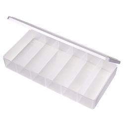 T203 Six-Compartment Box T203, 6694TE, T-Series,polypropylene,translucent,chemical resistance,product storage,protection,plastic packaging,plastic cases