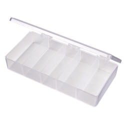T215 Five-Compartment Box 6702TE, T215, T-Series,polypropylene,translucent,chemical resistance,product storage,protection,plastic packaging,plastic cases