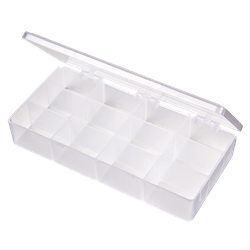 T219 12-Compartment Box 6701TE, T219, T-Series,polypropylene,translucent,chemical resistance,product storage,protection,plastic packaging,plastic cases