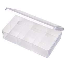T220 Six-Compartment Box T220, 6704TE, T-Series,polypropylene,translucent,chemical resistance,product storage,protection,plastic packaging,plastic cases