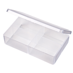T221 Four-Compartment Box 6706TE, T221, T-Series,polypropylene,translucent,chemical resistance,product storage,protection,plastic packaging,plastic cases