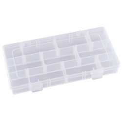 Three Compartments & 15 Removable Dividers polypropylene,Tuff-Tainer,detachable lid,movable dividers,compartments,harsh conditions,chemical resistance,plastic cases,plastic packaging, T3003, 6707TE