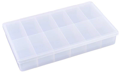 T602 12-Compartment Box 6708TE, T602, T-Series,polypropylene,translucent,chemical resistance,product storage,protection,plastic packaging,plastic cases