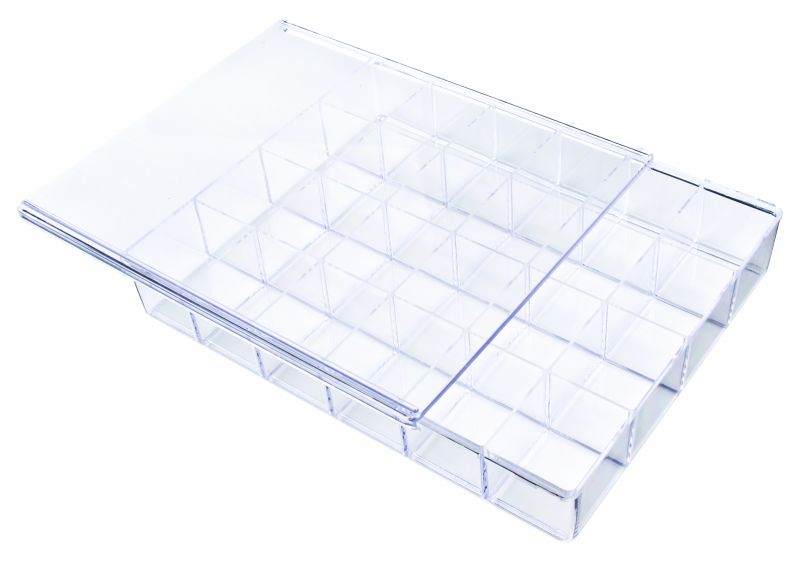 A924-2 24-Compartment Box styrene,box,plastic,packaging,merchandising,display,clarity,storage case,product display,one compartment,visibility,case,plastic box,retail merchandising, A924-2, 6684CB