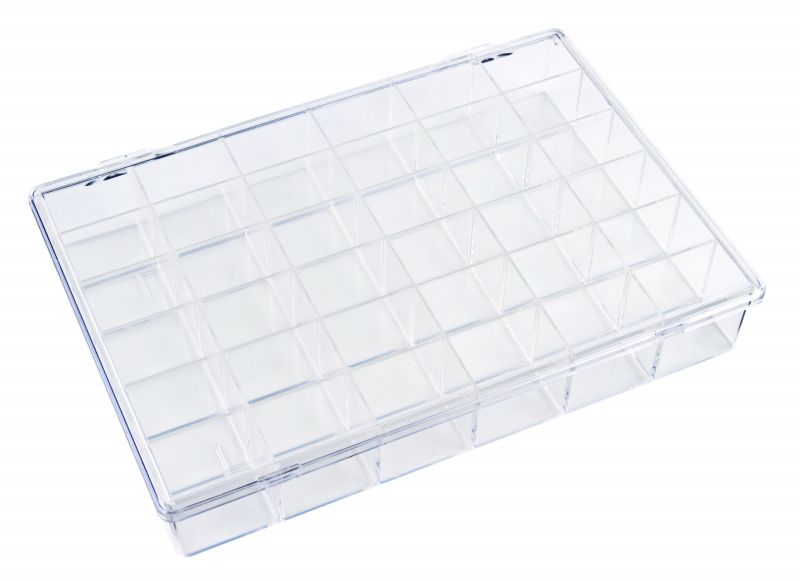 K166-36 36-Compartment Box K166-36, 6606KB, styrene butadiene copolymer,plastic box,durable,merchandising,product display,impact resistance,clarity,packaging,display,storage case,compartmented,visibility,case,plastic box,retail merchandising