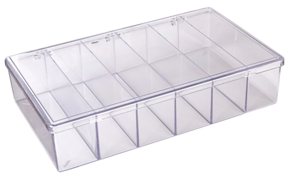 A606D Six-Compartment Box styrene,box,plastic,packaging,merchandising,display,clarity,storage case,product display,one compartment,visibility,case,plastic box,retail merchandising