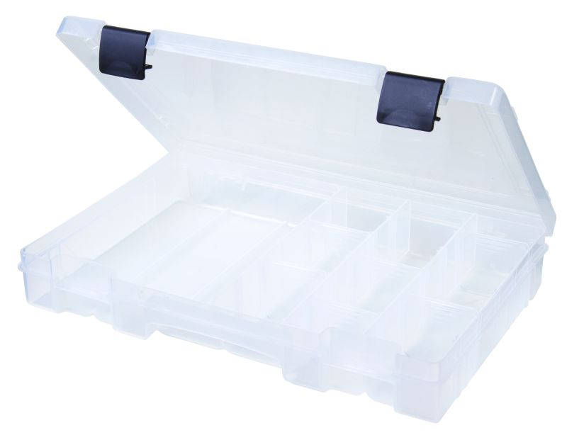 T4004 Four- to 19-Compartment Box polypropylene,Tuff-Tainer,detachable lid,movable dividers,compartments,harsh conditions,chemical resistance,plastic cases,plastic packaging, T4004, 6744TE, 19 compartments