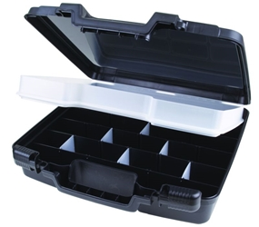 "Merchant 15"" with Tray, Divided Base & 16 Dividers merchant,case,plastic packaging,plastic cases, blue diamond, 6782TC, 15"", case, black, flashlight case, kit, tray, dividers, tray and dividers"
