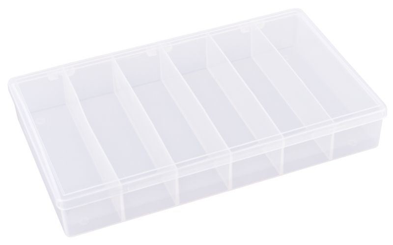 T606 Six-Compartment Box T606, 6710TE, T-Series,polypropylene,translucent,chemical resistance,product storage,protection,plastic packaging,plastic cases