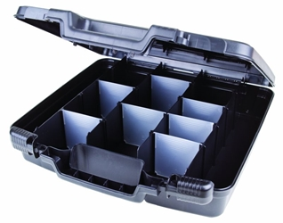 "Merchant 15"" with Divided Base & 12 Dividers merchant,case,plastic packaging,plastic cases, blue diamond, 6782TC, 15"", case, black, flashlight case, kit, dividers,"