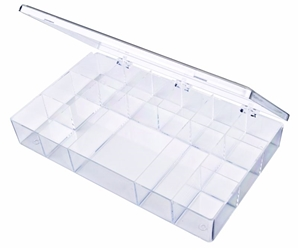 A613 13-Compartment Box styrene,box,plastic,packaging,merchandising,display,clarity,storage case,product display,one compartment,visibility,case,plastic box,retail merchandising, A613, 6664CB