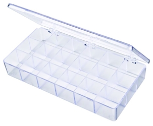 A200 18-Compartment Box styrene,box,plastic,packaging,merchandising,display,clarity,storage case,product display,one compartment,visibility,case,plastic box,retail merchandising, A series,plastic cases, plastic case,point of purchase, A200, 6608CB, blue diamond
