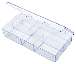 A212 Five-Compartment Box A-series,a series,five compartments,five-compartment,styrene box,plastic box,plastic cases,display,clarity,merchandising,product display,transparent