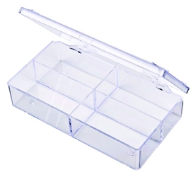 A154 Four-Compartment Box styrene,box,plastic,packaging,merchandising,display,clarity,storage case,product display,one compartment,visibility,case,plastic box,retail merchandising, A154, 6602CB