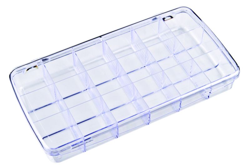 DB200 18-Compartment Box Diamondback,styrene,plastic box,merchandising,product display,clarity,packaging,merchandising,display,clarity,storage case,compartmented,visibility,case,plastic box,retail merchandising, 6708CD, DB200