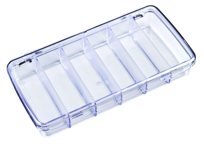 DB211 Six-Compartment Box DB211, 6724CD, Diamondback,styrene,plastic box,merchandising,product display,clarity,packaging,merchandising,display,clarity,storage case,compartmented,visibility,case,plastic box,retail merchandising