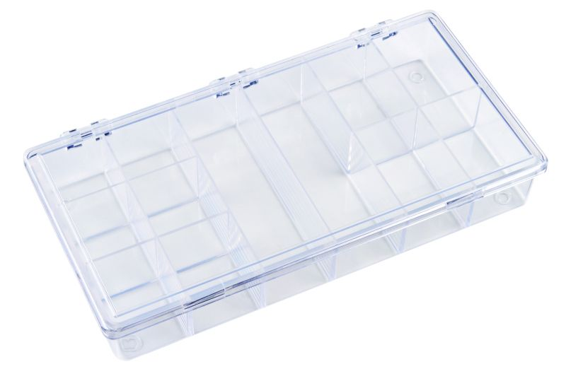 K201 12-Compartment Box 6610KB, K201, styrene butadiene copolymer,plastic box,merchandising,product display,clarity,packaging,merchandising,display,clarity,storage case,compartmented,visibility,case,plastic box,retail merchandising