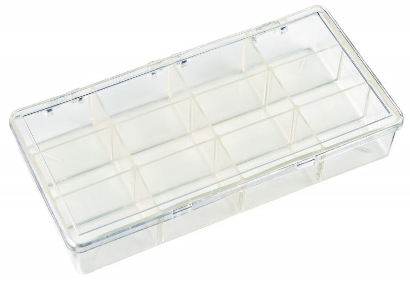 K219 12-Compartment Box K219, 6636KB, styrene butadiene copolymer,plastic box,merchandising,product display,clarity,packaging,merchandising,display,clarity,storage case,compartmented,visibility,case,plastic box,retail merchandising,k series