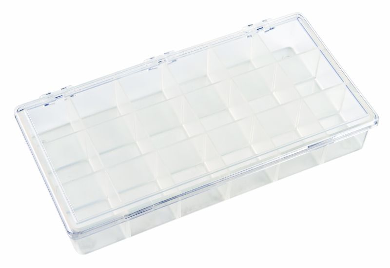 K200 18-Compartment Box K200, 6608KB, styrene butadiene copolymer,plastic box,durable,merchandising,product display,impact resistance,clarity,packaging,display,storage case,compartmented,visibility,case,plastic box,retail merchandising