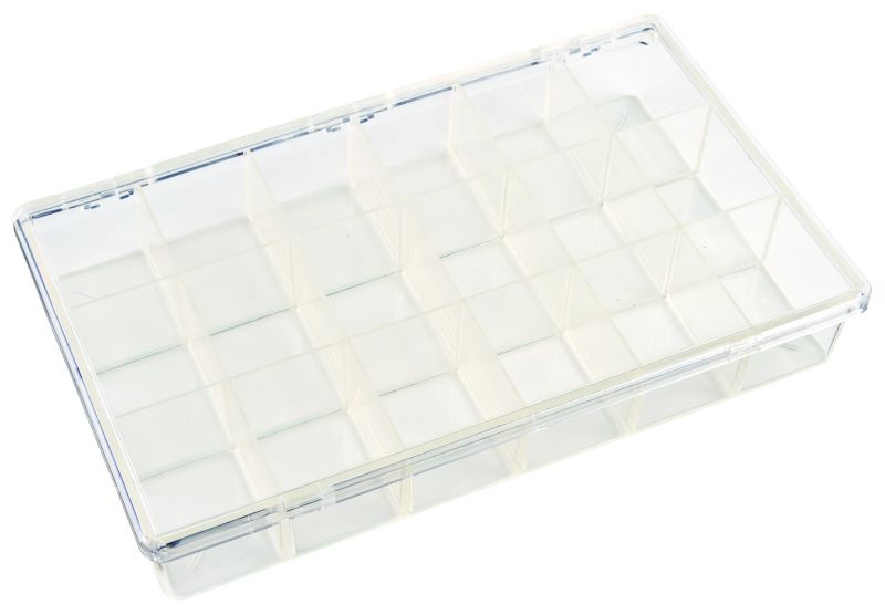 K618 18-Compartment Box K618, 6666KB, styrene butadiene copolymer,plastic box,durable,merchandising,product display,impact resistance,clarity,packaging,display,storage case,compartmented,visibility,case,plastic box,retail merchandising