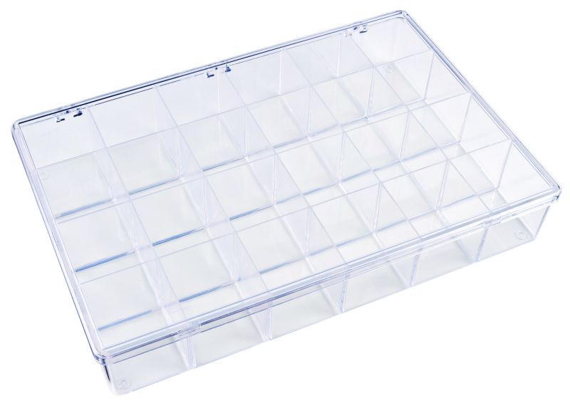 K824 24-Compartment Box K824, 6680KB, K series,plastic,plastic cases,resin,dupont,packaging,case,compartmented,plastic box,styrene butadiene copolymer,impact resistance,transparent