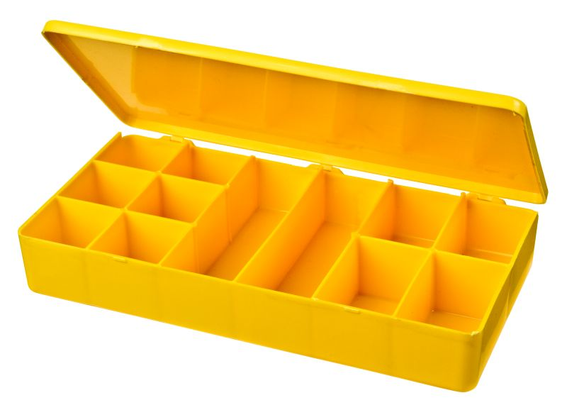 12-Compartment Box M-Series,heavy-duty,heat-sealed hinge,durable, chemical resistance,plastic packaging,cases,plastic cases,compartments