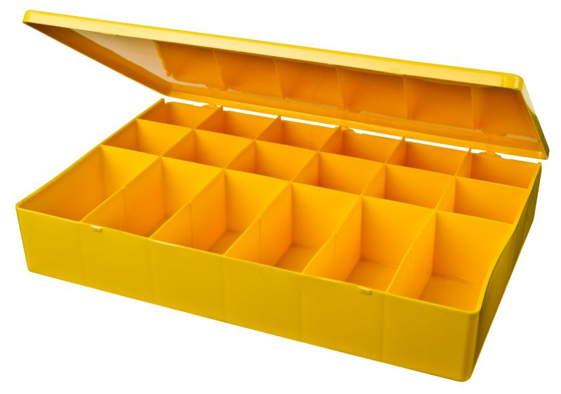 18-Compartment Box M-Series,heavy-duty,heat-sealed hinge,durable, chemical resistance,plastic packaging,cases,plastic cases,compartments