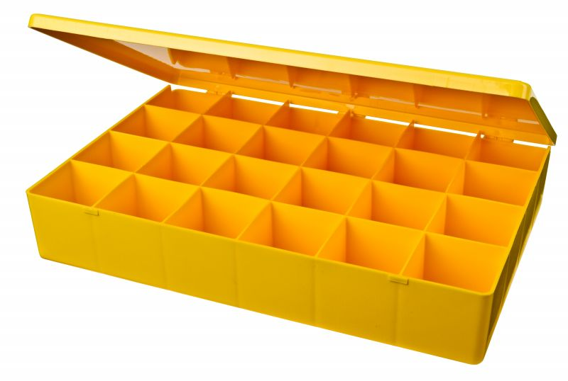 24-Compartment Box M-Series,heavy-duty,heat-sealed hinge,durable, chemical resistance,plastic packaging,cases,plastic cases,compartments