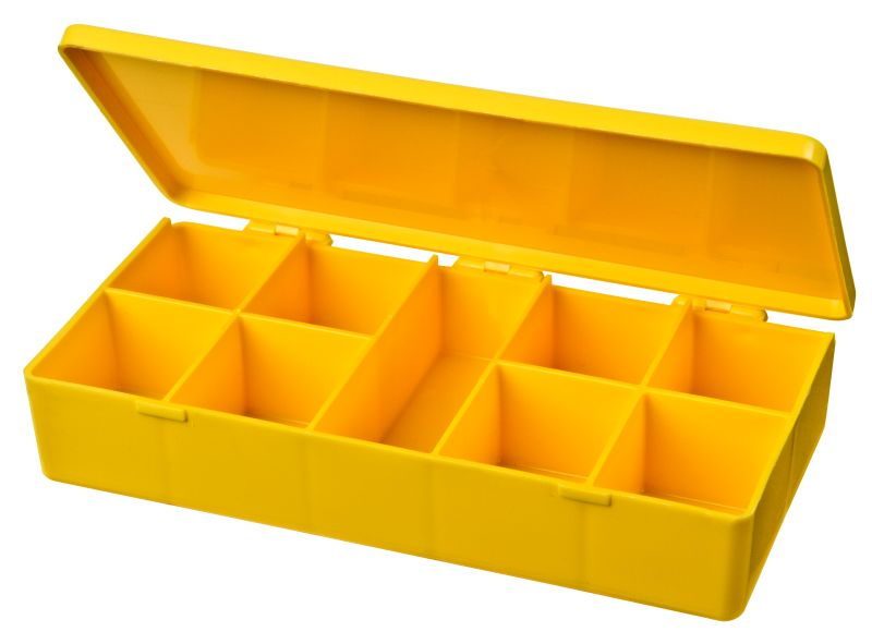 Nine-Compartment Box M-Series,heavy-duty,heat-sealed hinge,durable, chemical resistance,plastic packaging,cases,plastic cases,compartments