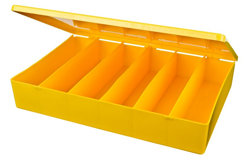 Six-Compartment Box M-Series,heavy-duty,heat-sealed hinge,durable, chemical resistance,plastic packaging,cases,plastic cases,compartments