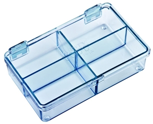 5204CL Four-Compartment Box Mighty-Tuff,cellulose propionate,harsh,industrial,institutional,double-metal hinge,impact,chemical resistance,plastic cases,plastic packaging, 5204CL, 6234MT