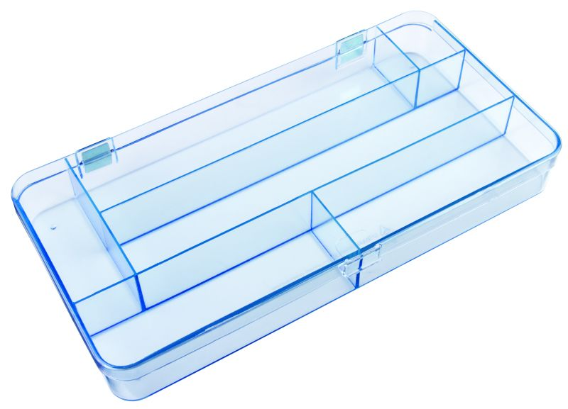 5130CL Six-Compartment Box Mighty-Tuff,cellulose propionate,harsh,industrial,institutional,double-metal hinge,impact,chemical resistance,plastic cases,plastic packaging, 5130CL, 6228MT