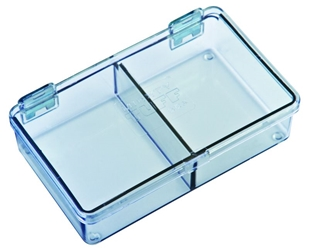 5202CL Two-Compartment Box Mighty-Tuff,cellulose propionate,harsh,industrial,institutional,double-metal hinge,impact,chemical resistance,plastic cases,plastic packaging, 5202CL, 6232MT